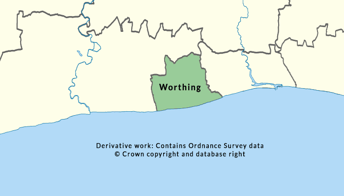 Map showing coverage area of COVID-19 cases in Worthing