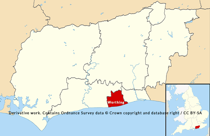 Location of Worthing COVID-19 cases