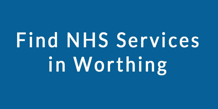 Text on image shows subject of page. NHS services in Worthing