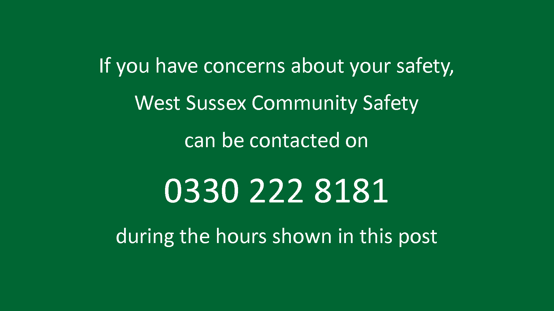 West Sussex Community Safety